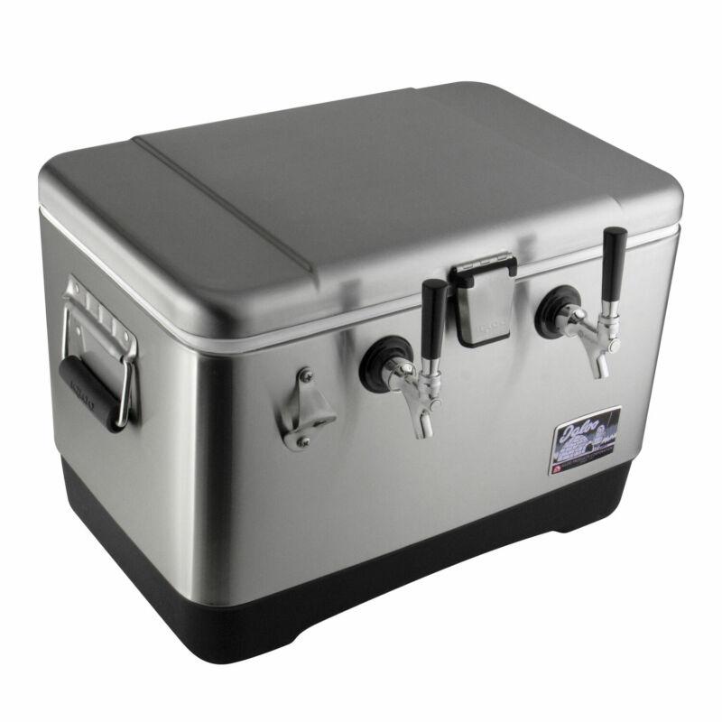 Kegco KJB-200-SS 54 Qt. Dual Faucet Stainless Steel Jockey Box with 120