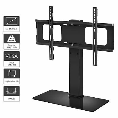 Lcd Table Stand (1home Table Pedestal Bracket Stand LCD/LED TV 32 -60 Inch Swivel Height Adjust)