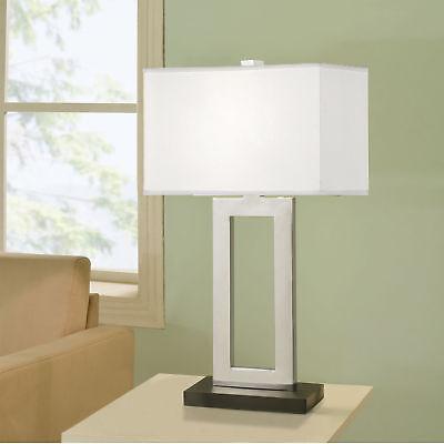 Artiva USA Geometric 29-inch Contemporary Chrome & Black Contrast Table (Contemporary Geometric Table Lamp)