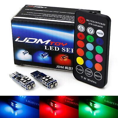 Purple Strobe Light (Multi-Color RGB 168 194 T10 LED Bulbs w/RF Remote Control For Car Parking)