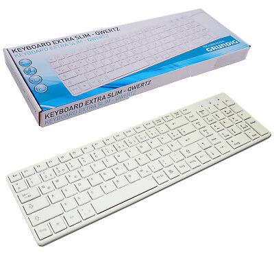 GRUNDIG EXTRA flache Tastatur Slim Design Weiß QWERTZ USB Deutsch Computer dünn
