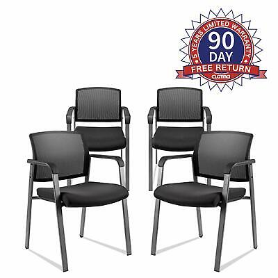 4pcs Mesh Back Stack Arm Chair Upholstered Fabric For Office School Church Guest