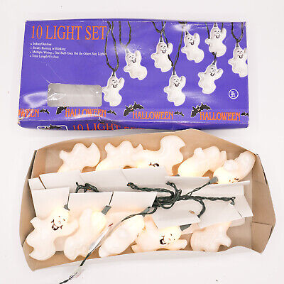 Vintage Halloween Ghost Skeleton Double Sided Blow Mold 10 Light Set with Box