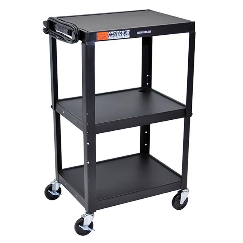 Offex OF-AVJ42 Adjustable Height Steel Audio Video Cart - Three Shelves, Black