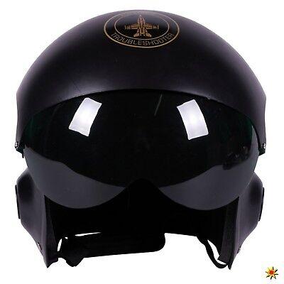 Pilotenhelm schwarz Einheitsgröße Air Force Kopfbedeckung Kampfpilot Kostüm Zube (Helm Air Force)