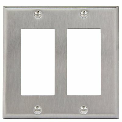 (2-Gang Brushed Stainless Steel Rocker Switch Metal Outlet Cover Wall Plate)