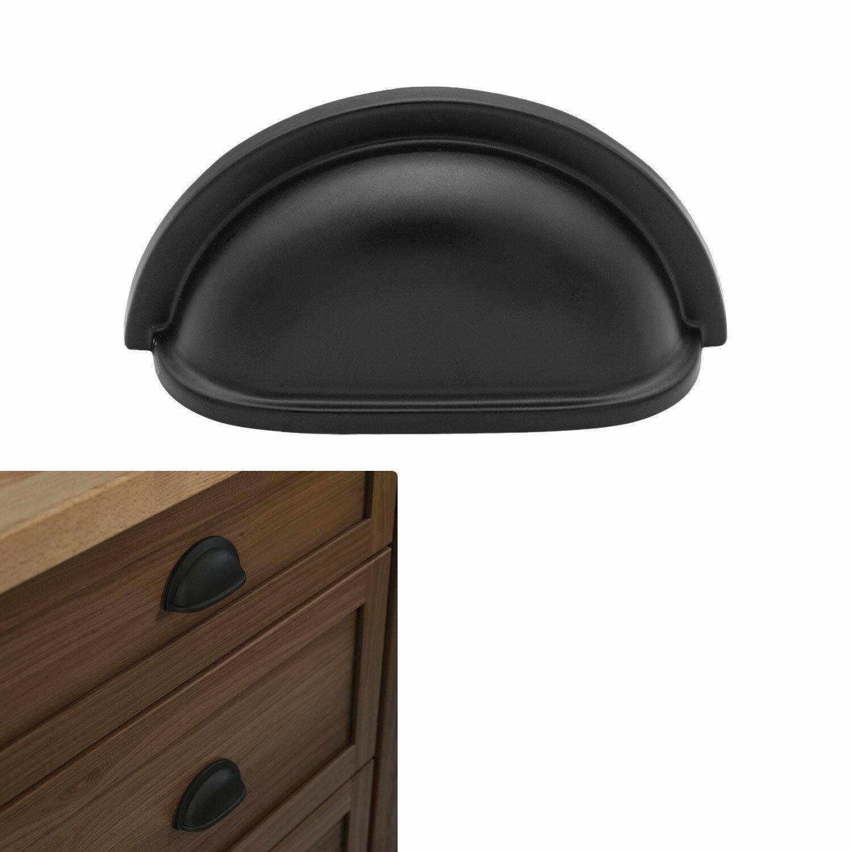 Matte†Flat Black Cabinet Hardware Cup Pull 3″ Hole Center Kitchen Drawer Handle Building & Hardware