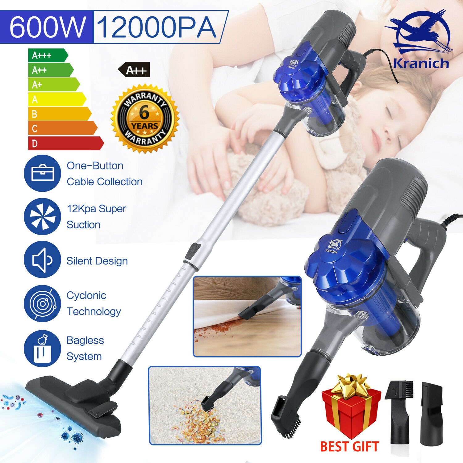 Details about 4 IN 1 Upright & Handheld Vacuum Cleaner 12Kpa Lightweight Bagless Hoover Vac