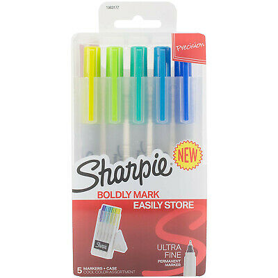 Sharpie Permanent Markers With Storage Case Ultra Fine Cool Colors 5 Count