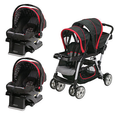 Graco Click Connect Double Seated Stroller and 2 Car Seats Travel System, Marco