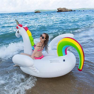Slaiya Unicorn Giant Inflatable Swimming Pool Float Large Raft Adult Swimming