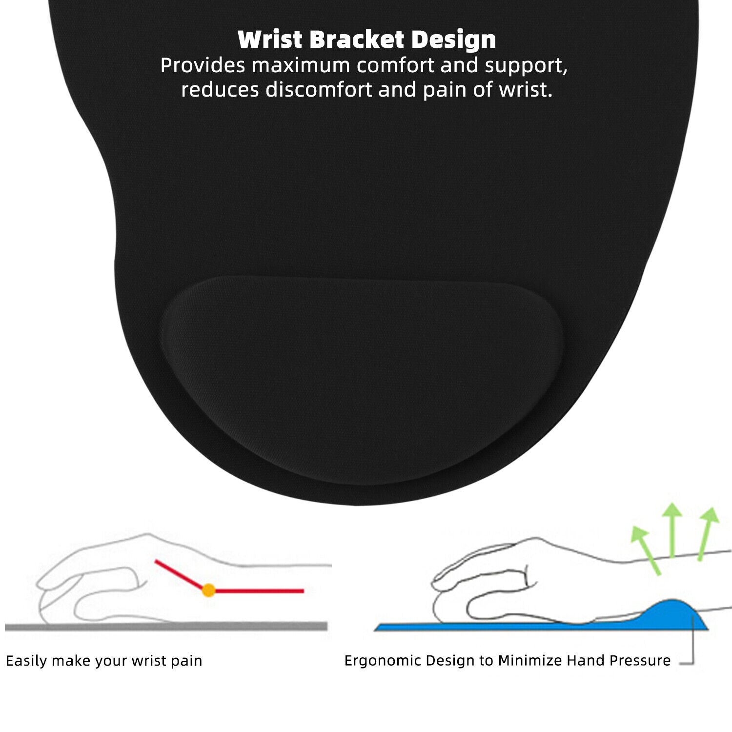 Ergonomic Comfortable Mouse Pad Mat With Wrist Rest Support Non Slip PC Mousepad Computers/Tablets & Networking