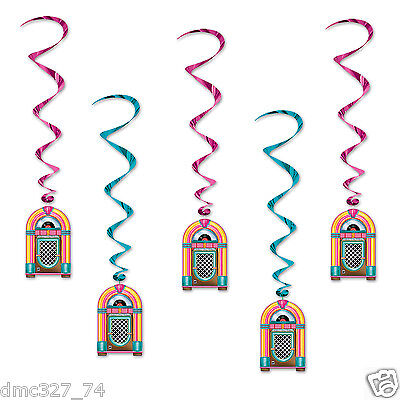 1950s 50s Sock Hop Grease Party Decoration Hanging JUKEBOX WHIRLS Swirls - 50s Sock Hop Decorations