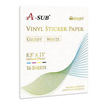 Printable GLOSSY White Vinyl Sticker Paper Inkjet Laser Cricut DIY Gift Label 16