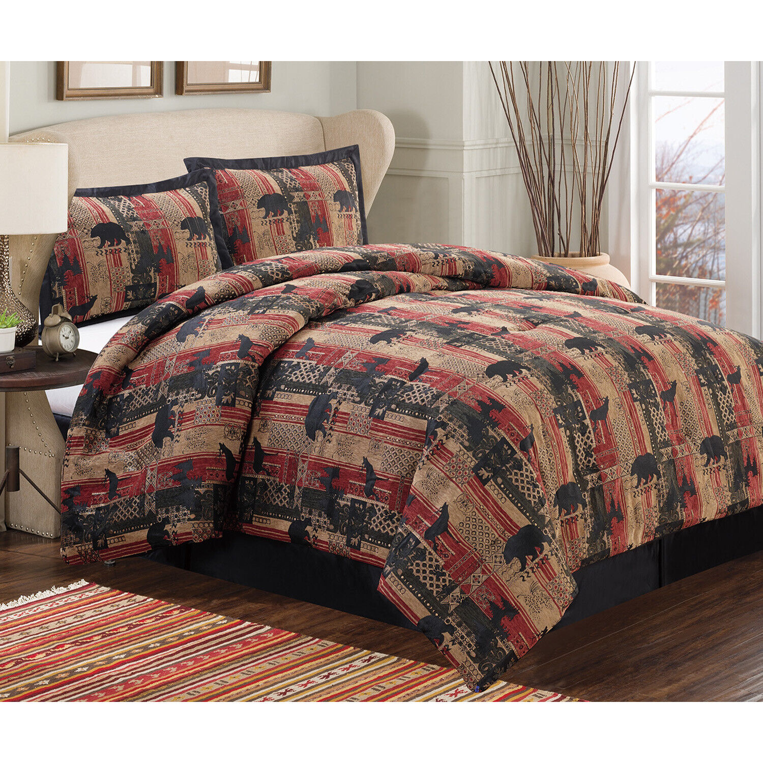 Queen or King Rustic Southwest Bear Oversized Comforter Bedding Set with Shams Bedding
