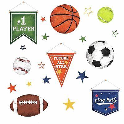 Sports 20 BiG Wall Stickers FOOTBALL BASKETBALL SOCCER  Room Decor Ball Decals