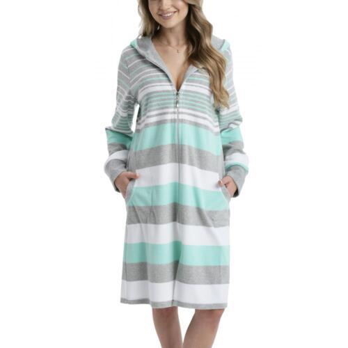 Damen Kapuzen-Bademantel mit Reißverschluss Morgenmantel 100%Baumwolle Frottee