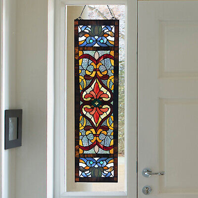 Victorian Theme Tiffany Style Stained Glass Fleur De Lis Side Red Window Panel