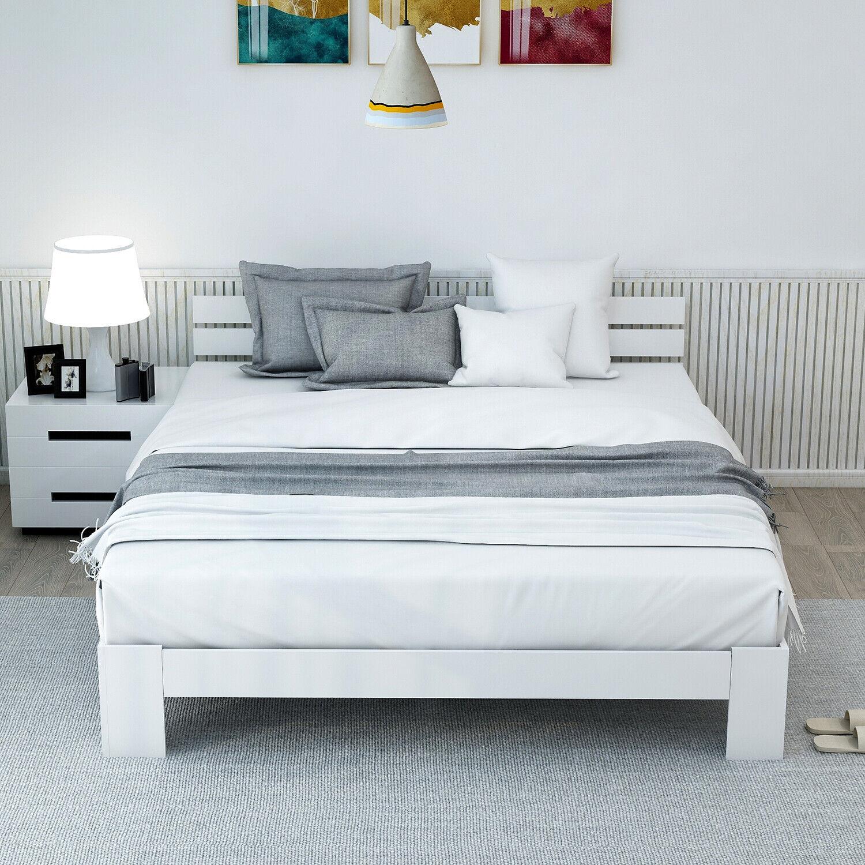 Massivholzbett Weiß Doppelbett Ehebett mit Kopfteil und Lattenrost 140 x 200 cm