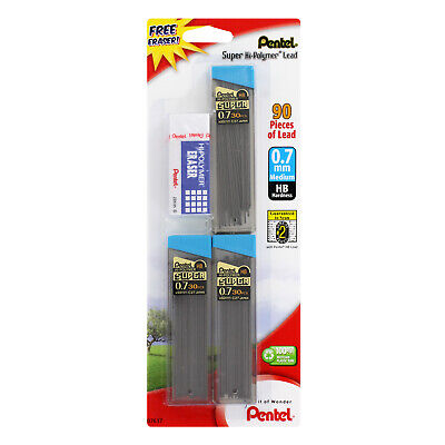 Pentel Super Hi-polymer Lead Refills W Eraser 0.7mm 2 Hb 3 Tubes Of 30 Lead