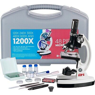 Amscope 48pc Starter 120x-1200x Compound Microscope Science Kit For Kids White