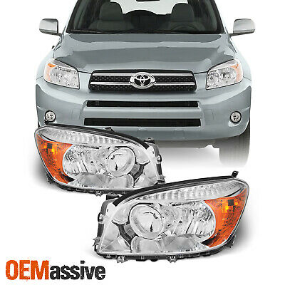 Fits 2006 2007 2008 Toyota Rav4 Left + Right Side Headlights Front Lamps Pair