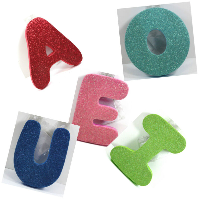 """FUN 5"""" TALL FOAM VOWELS LETTERS 5/8"""" THICK COLORED GLITTER W/STICKY TAPE DOTS"""