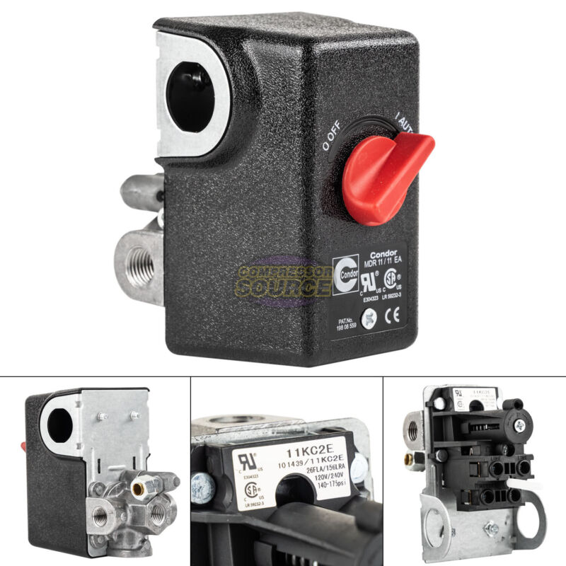 "Condor 11KC2E Pressure Switch Control Valve 140-175PSI 4 Port 1/4"" FNPT MDR11/11"