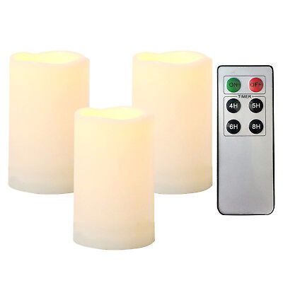 """3PCS Waterproof Outdoor Flameless LED Battery Operated Candles with Remote 3""""x5"""" ()"""