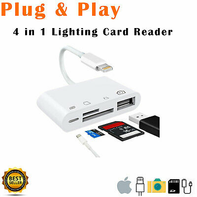 Lightning to Card Reader Adapter USB Camera Micro SD Memory Slot for iPhone iPad