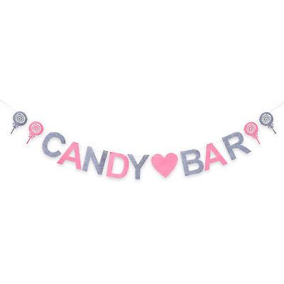 Candybar Filz Girlande Banner für JGA Hochzeit Geburtstag Party Deko Rosa Grau