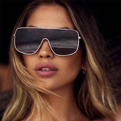 Designer Oversized Shield Sunglasses Metal Frame Black Brown Lens Women Fashion (Oversized Designer Sunglasses)