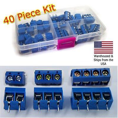 40pcs 2 Pole 3 Pole 4 Pole 5mm Pitch Pcb Mount Screw Terminal Block Kit