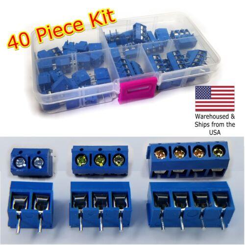 40Pcs 2 Pole 3 Pole & 4 Pole 5mm Pitch PCB Mount Screw Terminal Block Kit