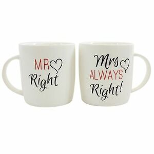 Set of 2 Mr and Mrs Always Right Mugs Engagement Wedding Present Keepsake Gifts