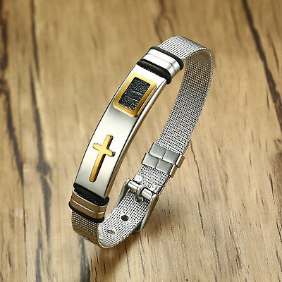 Religious Men Bracelet Watchband Armband Christian Cross Stainless Steel Jewelry