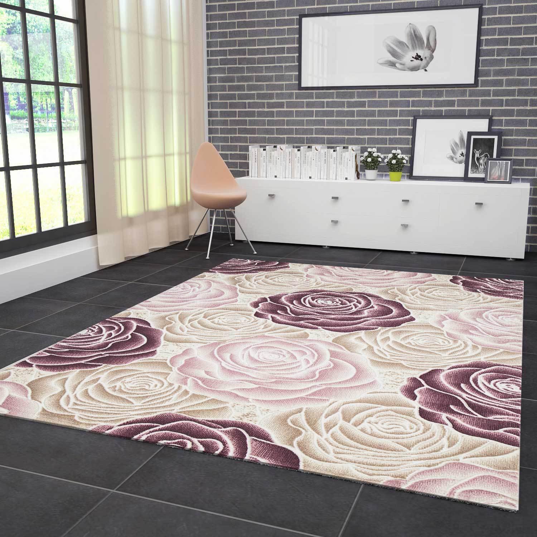 Moderner Teppich Design 3D-Effekt mit Glitzer Rosen Muster in Rosa Pink Creme