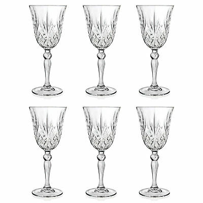 -   Set of 6 - RCR Italian Crystal Melodia White Wine 21 cl Goblet Glasses -SALE