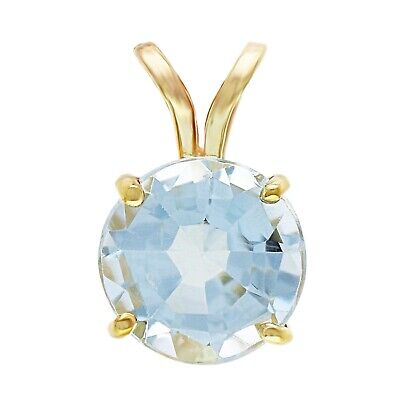 14k Yellow Gold 2.40ctw Blue Topaz Round Solitaire Double Bail Pendant Bail 14k Yellow Gold Solitaire