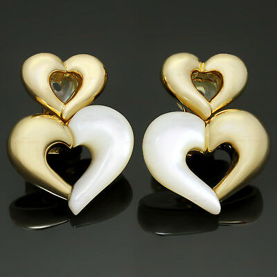 VAN CLEEF & ARPELS Mother-of-Pearl 18k Yellow Gold Heart Clip-on Earrings