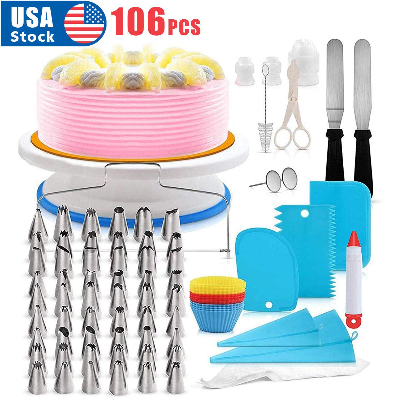 106pcs Set Cake Decorating Supplies Pieces Kit Baking Tools Turntable Stand Pen Baking Accs. & Cake Decorating