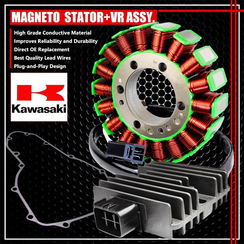 06-11 NINJA//VERSYS 650//ER6N MAGNETO COIL STATOR+VR VOLTAGE REGULATOR+GASKET ASSY