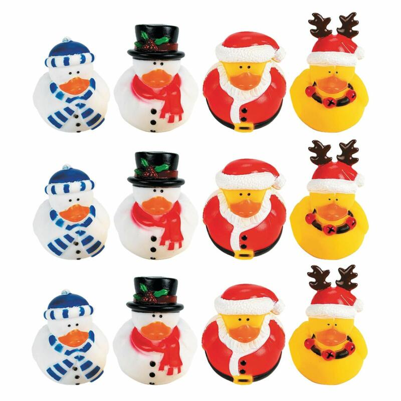 Fun Express Vinyl Holiday Rubber Duckies | 12 Count | Great for Party Favors,