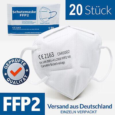 20x FFP2 NR Maske Mundschutz Masken Atemschutz 5-lagig *CE-2163 ZERTIFIZIERT*