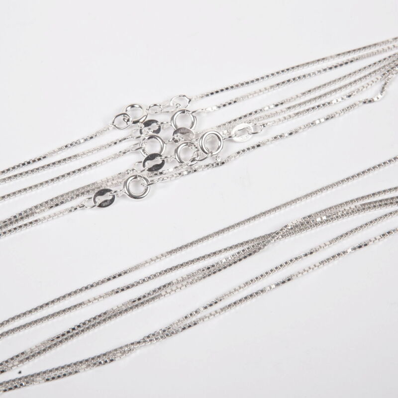 """10 pieces 16.5"""" 42cm Sterling SILVER 925 thick BOX 022 CHAIN Necklaces Lot"""