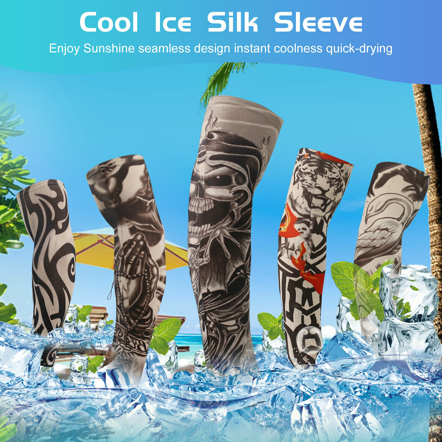 For Men Women Tattoo Cooling UV Sun Protection Arm Sleeves Golf Sports Outdoor Basketball