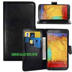 BLACK WALLET Leather Case Phone Cover for Samsung Galaxy Note 2 II GT-N7100 UK
