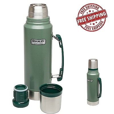 1Stanley Vacuum Thermos Coffee Tea Bottle Stainless Steel Lid Cup 1.1 QT Double