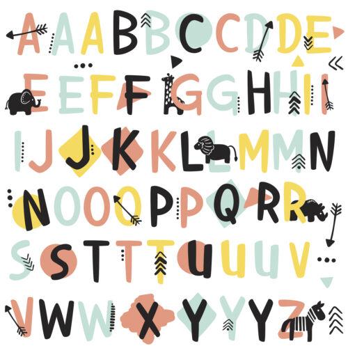 TRIBAL ALPHABET WALL DECALS 66 Alphabet Stickers Kids Toddler Baby Nursery Decor