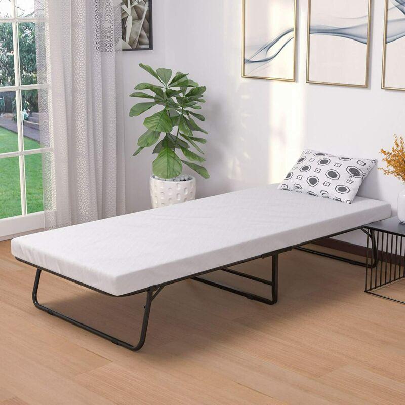 Portable Cot Size Folding Metal Bed with Foam Mattress & 4 Wheels Black